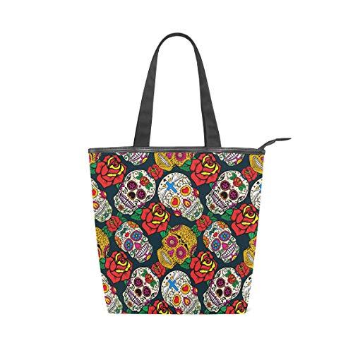MNSRUU Große Handtasche aus Segeltuch, für den Strand, für Reisen, Shopping, Schultertasche, Ethno-Stil, Retro-Zucker, Totenköpfe und Rosen, Sommerurlaub, Handtasche für Damen und Mädchen