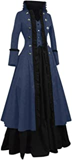Lazapa Medieval Vintage Gothic Court Dress for Women, Standing Collar Two-Piece Dress Cosplay Halloween Dress