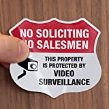 SmartSign No Soliciting Sticker for Door/Windows, Pack of 5, No Soliciting No Salesmen Property Protected by Video Surveillance Label Set | 3M Reflective Labels, Peef-Off Decals, 2.75'x3.25'