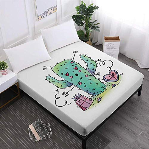 BBCS Cartoon Cactus Bed Sheet Green Plant Print Fitted Sheets Letter Print Sheet Funny Matras Cover Polyester Bedclothes