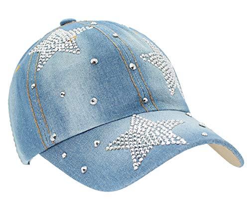 dy_mode Basecap Damen Jeans Baseball Cap Mütze Kappe Glitzer - K020 (K019-Hellblau)