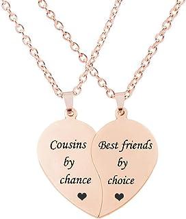 BFF Necklace for 2-Split Valentine Heart Necklace TOGETHER FOREVER NEVER APART Best..