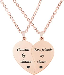 MJartoria BFF Necklace for 2-Split Valentine Heart Together Forever Never Apart Best Friends Pendant Friendship Necklace Set of 2