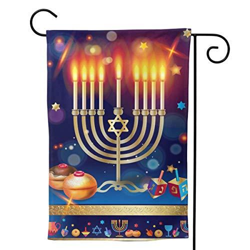 YISHOW Jewish Happy Hanukkah Garden Flag Double Sided Vertical Happy Jewish Candle Hanukkah House Flags Yard Signs Outdoor Decor 12.5'X18'