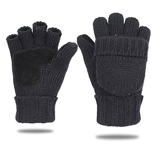 ValueHall Damen Herren Winter Handschuhe Fäustlinge fingerlose Fingerhandschuh Strickhandschuhe mit Flip Top E605-1 (Schwarz)