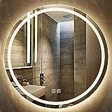 HHDD Espejo de Baño Iluminado con LED, Sala de Estar Redonda Montado en la Pared Resistente Al Agua Plateado Inteligente...