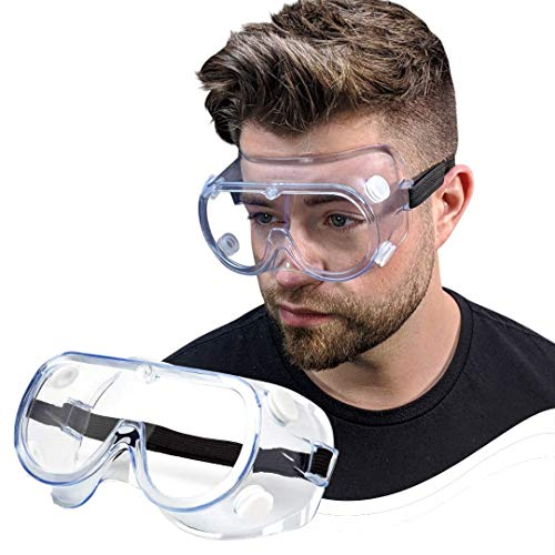 Safety goggles FDA Registered Anti-Fog Protective Glasses Adjustable Eye Protection Chemical Lab Safety Goggles Fit Over Prescription Glasses Science Safety Glasses