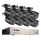 ZOSI TVI 1080P Caméra de Surveillance avec 8CH 4in1 DVR Enregistreur 1080N, 65ft (20m) Vision Nocturne, APP Gratuite pour Accès à Distance en 3G/4G/WiFi par Smartphone sans Disque Dur Inclus