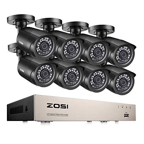 ZOSI 8CH H.265+ 1080N HDMI DVR Recorder mit 8 Outdoor 2.0MP 1080P CCTV Haus Sicherheit Kamera Set Video Überwachungskamera System ohne Festplatte, 20M Nachtsicht