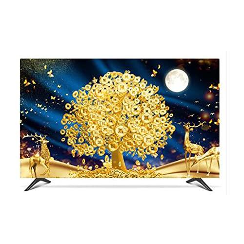 Yinian Decoración del Hogar Cubierta Protección Solar Cubierta TV Tela Tela Colgada Pared LCD Curvado Pantalla TV Funda Cubierta 22-80in TV Protector Pantalla Tapa(Size:55 in,Color:A)