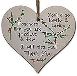 Handmade Wooden Hanging Heart Plaque Gift for a Great Teacher Thank You Keepsake