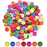 wangjiangda 200 Pezzi Bottoni Colorati 15 mm Bottoni Legno Rotondo Colore e Dimensioni Misti 2 Fori Bottoni Decorativi per Cucito Fai da Te Artigianato Decorare Scrapbooking