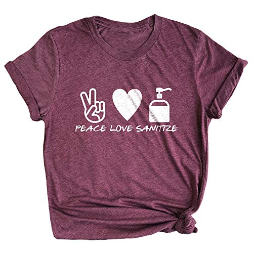 Spunky Pineapple Peace Love Sanitize Funny Cleanliness Quarantine Premium T-Shirt Maroon