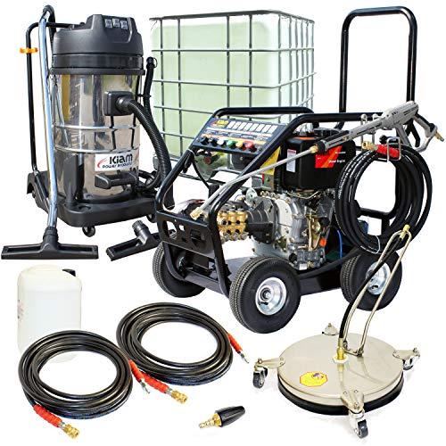 Kiam Business Start-up-Pack: KM3600DXR 10PS Diesel Hochdruckreiniger Getriebemodell KV80-3 3 Motor Nass & Dry Staubsauger VT62-300S Rotary Cleaner, Turbo Düse, 1000L IBC und Zubehör