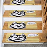 Alaskan Malamute Stairway Carpet Rugs Non-Slip,Alaskan Malamute Portrait of Siberian Husky Hand Drawn Pet Dog Striped Backdrop Multicolor,for Outside and Indoor Stairs,5-Pack/8.5x27.5in