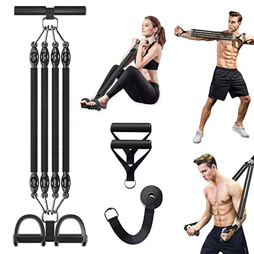 Pedal Resistance Band Set, Megoal Exercise Bands with Handles Elastic Rope Fitness Equipment 4-Tube Sit-up Bodybuilding Expander for Abdomen Waist Arm Legs Yoga Stretching Slimming Training