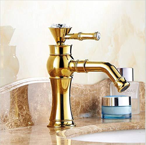 Grifo de la cocina Mango de diamante de cristal Acabado dorado Grifo mezclador de lavabo de baño Giratorio Sout Fregadero de recipiente de moda de lujo Grifo de oro ZR421