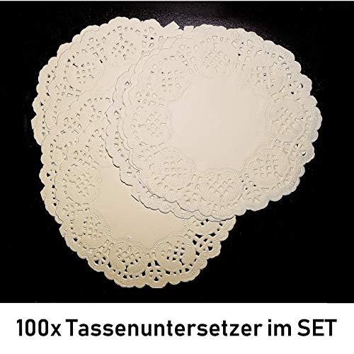 ka 100 Tassenuntersetzer Untersetzer Platzset Tassen Tortenspitze Papier Weiß Rund