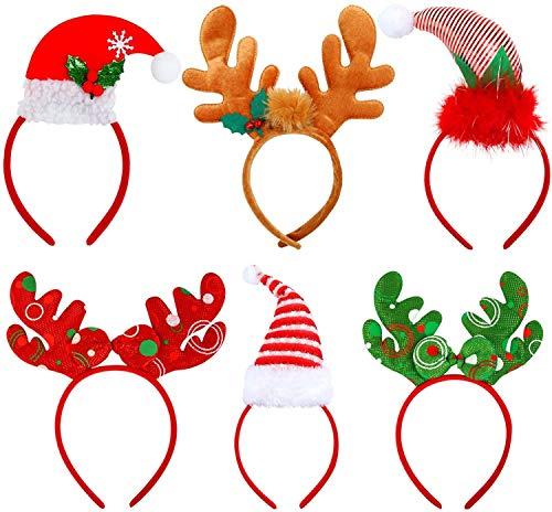 KAHEIGN 6 Pz Cerchietti Elfi di Natale, Cerchietti di Corna di Renna Cappelli di Babbo Natale per La...