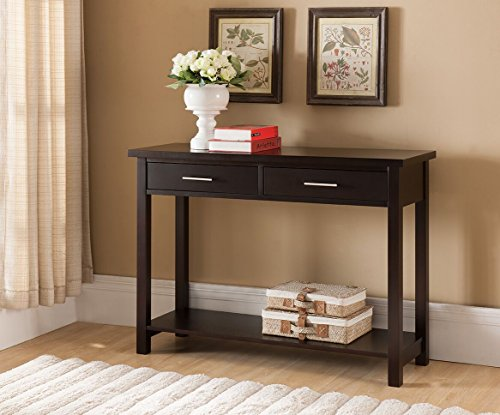 Kings Brand Furniture Wood Entryway Console Sofa Occasional Table with Drawers, Espresso