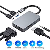 USB C Hub, Typ C 5 in 1 Hub Adapter, USB 3.0, Audiobuchse, 1080P VGA, 4K HDMI, USB C...