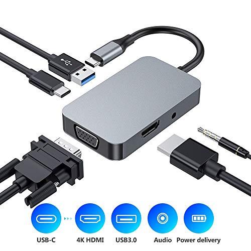Hub USB C, adaptador tipo Hub 5 en 1, USB 3.0, conector de audio, 1080P VGA, 4K HDMI, USB-C Power Delivery, adaptador de aluminio compatible con MacBook Pro 2017/2018 y más dispositivos USB-C
