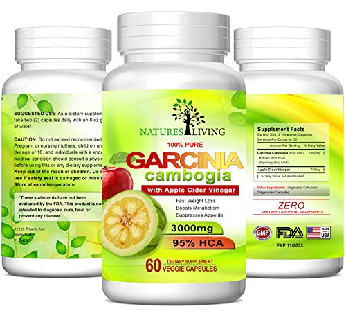 2300mg Garcinia Cambogia Extract & 700mg Apple Cider Vinegar in 2 Pills (60 Veggie Capsules) 100% Natural, Detox, Digestion & Circulation Support. Best Weight Loss Supplement & Carb Blocker
