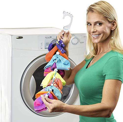SockDock Sockenwäschewerkzeug & Aufhänger zum Waschen, Trocknen und Aufbewahren gepaarter Socken, Clips & Schlösser, kein Sortieren oder Einstellen, Faltbarer Organizer, 2er-Pack (blau)