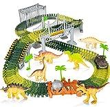 Juego de 144 pistas de carreras de dinosaurios para niños con 2 dinosaurios, 2, 1 vehículos militares, 4 árboles, 2 pendientes, 1 puerta doble, 1 puente colgante para niños de 2 3 4 5 años (verde)