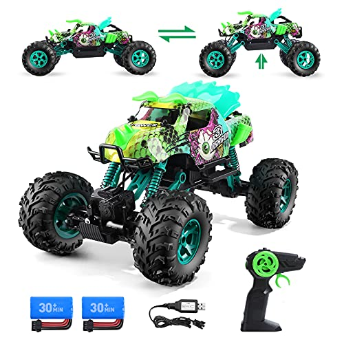 Holyton 1:12 Scale Dinosaur Monster Transformable Remote Control Cars, 60+ Minutes Play,Off Road RC Trucks Rock Crawler Toys for Boys,4WD High Speed 18+ Km/h Vehicle 2 Batteries Gift for Kids & Adults