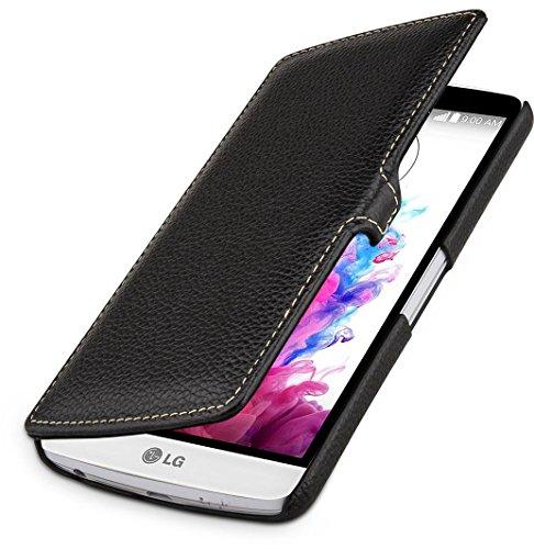 StilGut Book Type Hülle, Hülle mit Clip aus Leder für LG G3 Stylus, schwarz