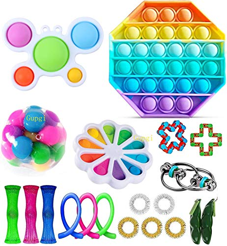 Fidget Toy Packs Cheap Fidget Box with Simples Dimples Pop Bubble DNA Stress Relive Balls for Kids Adults ADHD ADD Anxiety Autism (24pcs b) (A Set)