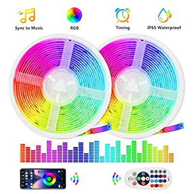 20ft Sound Reactive LED Strip Lights, Remote & App Bluetooth Controlled Music Sync RGB LED Light Strip, Smart Lighting for Bedroom, Room, TV, Party, Gaming with Bright 5050 LED, Cuttable, Waterproof