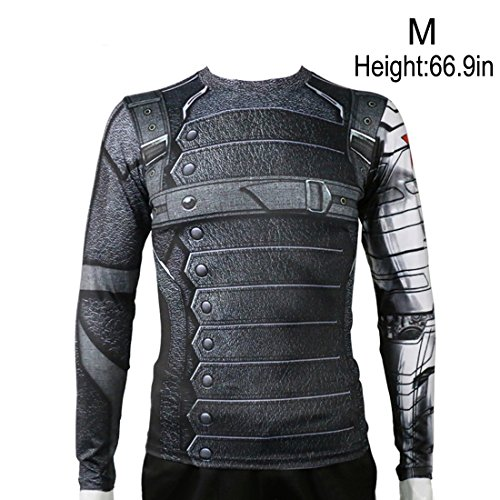 Rulercosplay Civil War Winter Soldier Shirt Long Sleeves Sport Shirt (S) Gray