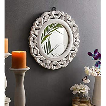 The Urban Store Wood Hand Crafted Round Shape Vanity Wall Mirror Glass for Living Room, 35X 35 X 1.5 cm (White)