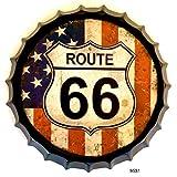 DiiliHiiri Cartel de Chapa tapón de Botella decoración Vintage Americano de Metal (Route 66 Bandera USA)