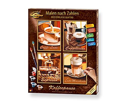Schipper 609340553 Malen nach Zahlen, Kaffeepause - Bilder malen für Erwachsene, inklusive Pinsel und Acrylfarben, Quattro je 18 x 24 cm