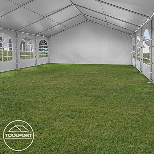 TOOLPORT Hochwertiges Partyzelt 4×8 m Pavillon Zelt 240g/m² PE Plane Gartenzelt Festzelt Wasserdicht weiß - 6
