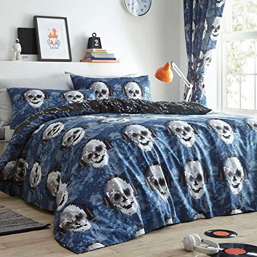 Yorkshire Linen Pixel Skulls Duvet Cover Set, Double
