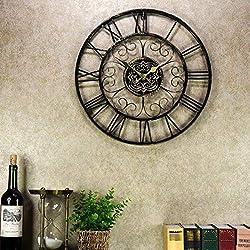 Rustic Wall Clock Silent Quartz Wall Clock 18.5 Inch European Vintage Retro Style Wrought Iron Hollow Out Black Creative Wall Clock Indoor Living Room Outdoor Garden Decorative Wall Clock