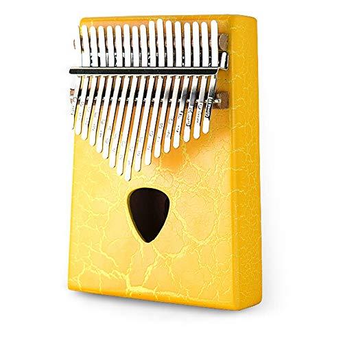 Kalimba 17-key Mahonie Draagbare Piano Volledige Fineer Duim Piano Tuning Hamer Draagtas Vegen Doek 17-key Thumb Piano (Color : Yellow, Size : One size)