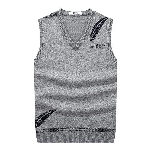 Solarphoenix Men's Fall Winter Sweater Vest Jacquard Knit V Neck Knitting Vest Wool,Gray,S