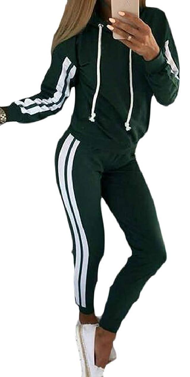 ヘルメット採用物質レディースカジュアル2ピース衣装 スウェットシャツ パンツセット スウェットスーツ Black US Large