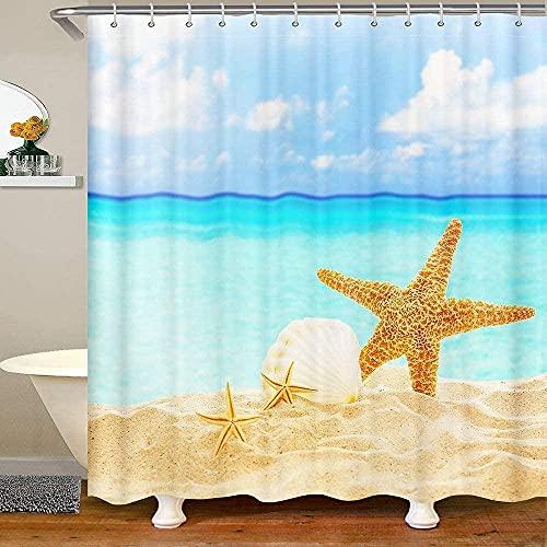 Bath Curtain for Kids Boys Starfish and Shells on Sandy Beach Waterproof Bathroom Curtain with 12 Hooks Suits for Bathtub Ocean Theme Shower Curtain, 72' W x 72' L