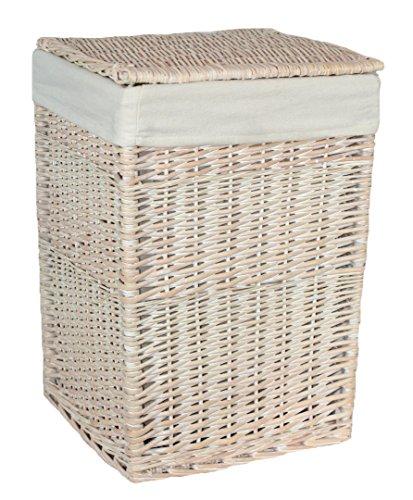 qualità piccolo quadrato bianco bucato lino / CESTO BIANCHERIA CESTO CON BIANCO FODERA