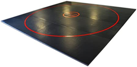AK Athletics 12' x 12' Roll-Up Home Use Wrestling Mat Black with Red Circles and Starting Lines