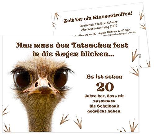 Unser-Festtag Klassentreffen mit Strauß Einladungen, Ihr eigener Text auf der Karte, lustig witzig originell - 20 Karten - DIN A5