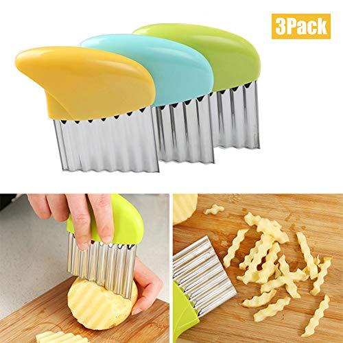 Crinkle Cutter INTVN3 Stück Edelstahl Kartoffel Gemüsehobel Wellenschneider ,Kartoffelschneider Französisch FritesMesser Pastry Schneidewerkzeug für Gemüse, Zwiebeln