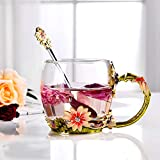 PPEA Enamel Chrysanthemum Crystal Lead-Free Glass Tea Cup with Spoon Set, Present for The Christmas, Valentine's Day.Best Present for Mother, Grandma, Girlfriend, Sister.