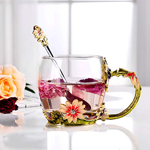 Goaeos Mother's Day Gifts for Mom Tea Cup Coffee Mug Cups Clear Glass with Spoon Set Unique Rose Flower Enamel Design Valentine's Day Birthday Decoration Wedding Gift (Red Short)